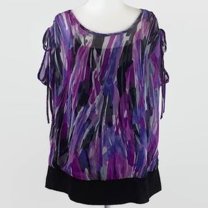 Lane Bryant Purple and Black Top Size 14/16